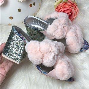 ASOS Pink Pom Pom Glitter Mule Heel Sandals NEW